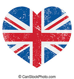 UK Great Britain retro heart flag - British vintage old flag...