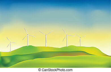 Wind power - Vector illustration of energy-producing...