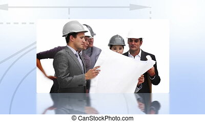 Montage of architects at work on blue background