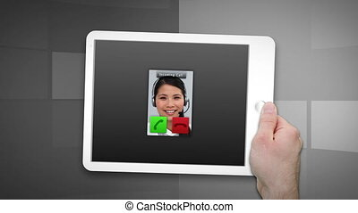 Montage of a tablet showing a call