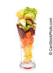 sano, mezcla, fruta, vidrio, sano, jugo