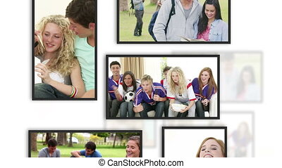 Montage of students clips into frames on white background