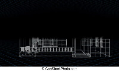 Montage of a model house being built on black background