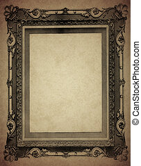 Antique Frame on Old Paper - Old-fashioned photo frame on...