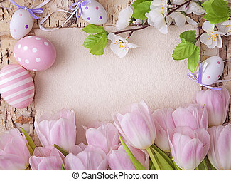 Pink tulips and blank note