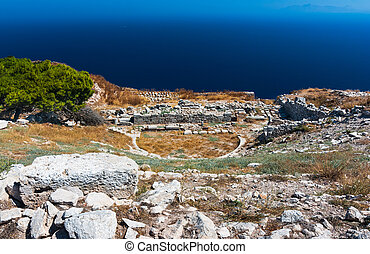 Ancient theater in Thira, Santorini - Ancient theater in...