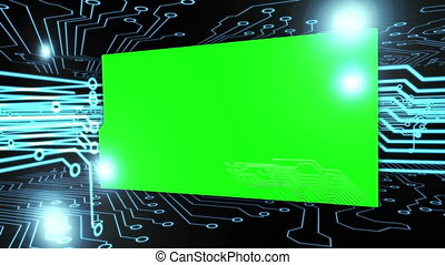 Montage of green screens on a circu