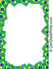 Brazil flag frame - Illustrated frame made of Brazil flags