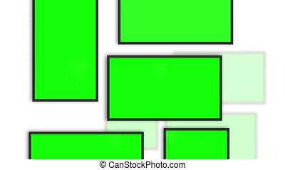 Chroma key spaces into frames on white wall