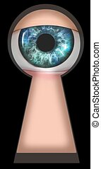Looking through keyhole - Illustration of an eye looking...