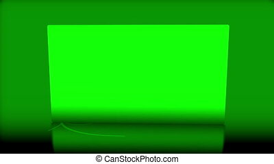 Chroma key space flipping over against green background
