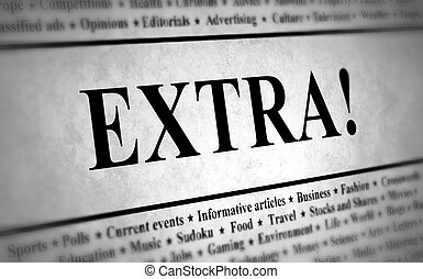 Newspaper Extra - Illustration of a newspaper with the title...