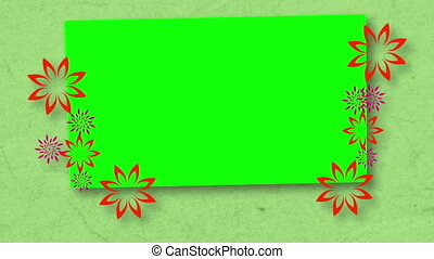 Chroma key spaces with flowers on green background