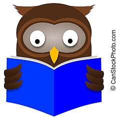 Owl Reading - Illustration of an Owl reading a book