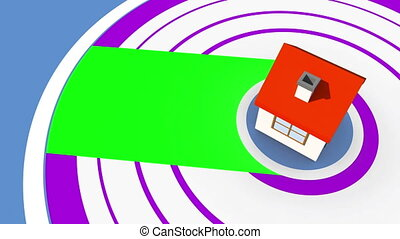 Do it yourself montage on spiral background with 3d house...