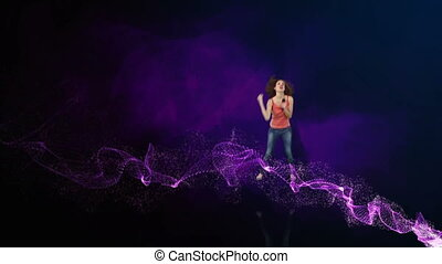 Music and dancing montage on galactic background of purple...