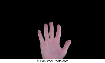 Futuristic hand scan idenification technology on blue and...