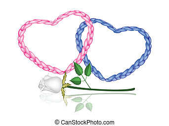 Two Rope Heart with A White Rose - Love Concept,...