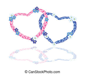 Two Rope Heart with Forget Me Not Flower