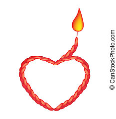 A Red Noose in The Shape of Heart and Fire - Love Concept,...