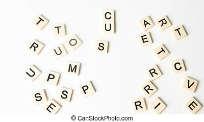 Customer relations buzz words formed into crossword shape in...