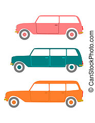 Station wagon - Retro station wagon silhouette on a white...