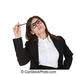 Businesswoman Holding Pencil - Businesswoman Gesturing With...