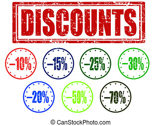 Discounts stamp - Grunge rubber stamp with text discounts...