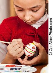 Ägg, påsk, flicka, färgad