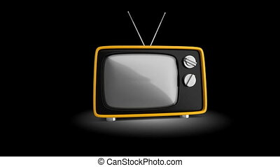 Retro 1970s style TV. - intro for presentations. Alpha...
