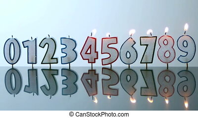 Number candles blowing out in numerical order in slow motion