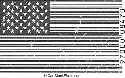 American flag in barcode - Abstract illustration of the...