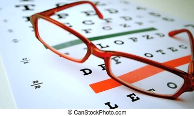 Red reading glasses falling onto eye test in slow motion