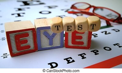 Message for eye test in dice and blocks on an eye test in...