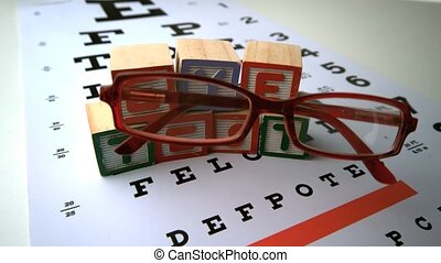 Glasses falling onto eye test with blocks spelling out eye...