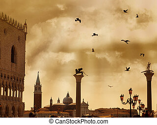 San Marco square with dramatic clouds and birds in Venice, Italy