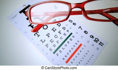 Red reading glasses falling onto an eye test overhead shot...