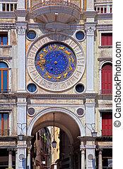 zodíaco, reloj, San, Marco, cuadrado, Venecia