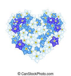 Heart Shape of Forget Me Not Flower - A Beautiful Blue Heart...