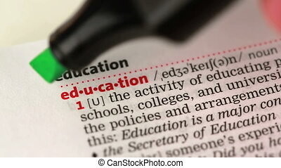 Definition of education highlighted in the dictionary