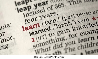 Definition of learn highlighted in the dictionary