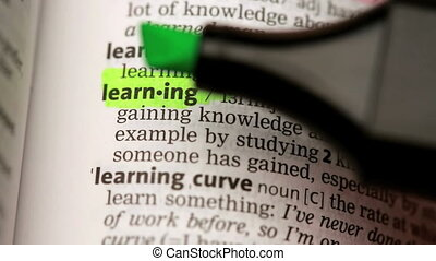 Definition of learning highlighted in the dictionary
