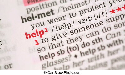 Definition of help highlighted in the dictionary