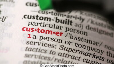 Definition of customer highlighted in the dictionary