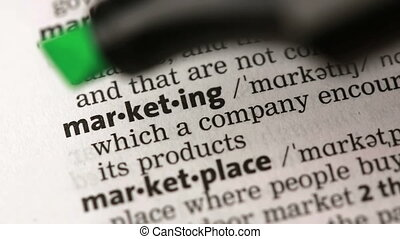 Definition of marketing highlighted in the dictionary