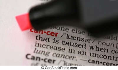 Definition of cancer highlighted in the dictionary