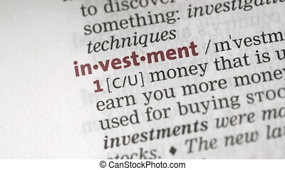 Definition of investment highlighted in the dictionary