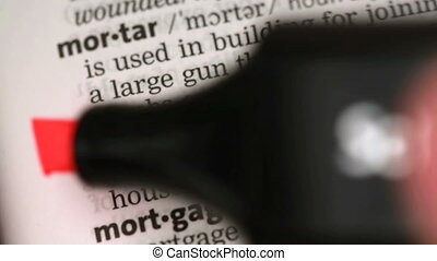 Definition of mortgage highlighted in the dictionary