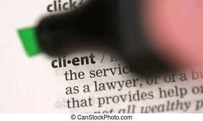 Definition of client highlighted in the dictionary