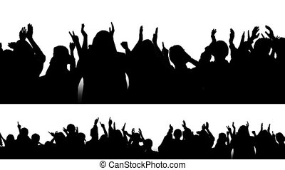 Cheering Crowd Silhouettes 1 - 2 options small and large of...